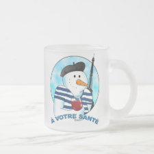 A votre sante frosted glass coffee mug
