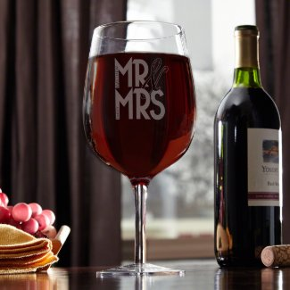 Happy Couple Personalized Giant XL Wine Glass