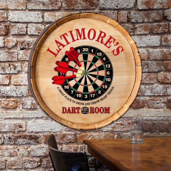 Personalized Oak Barrel Darts Top Sign