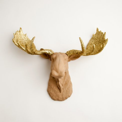 Gold glitter antlers on tan faux moose head zazzle - Fake moose head ...