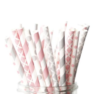 25pk of Pink and Silver Patterned Paper Straws