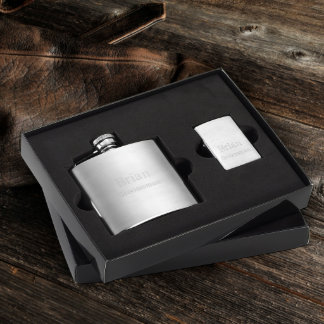 Personalized Brushed Flask and Zippo Lighter Gift