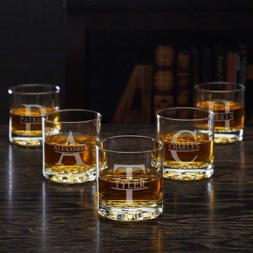 Set of 5 Stamped Monogram Buckman Whiskey Glasses
