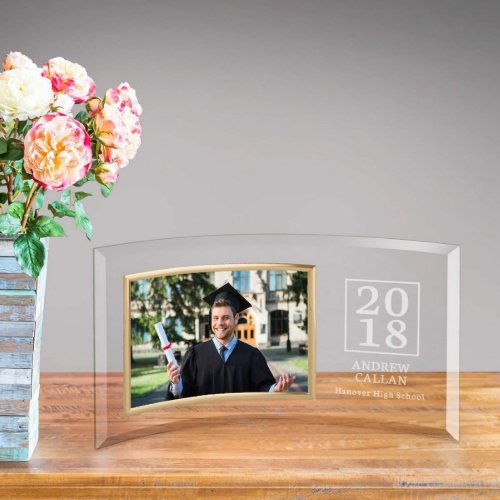 Elegant Graduation Year Curved Glass Picture Frame