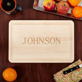 Large Personalized Classic Cut Wood Cutting Board