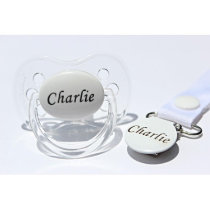 Personalized Pacifier & Pacifier Clip - White