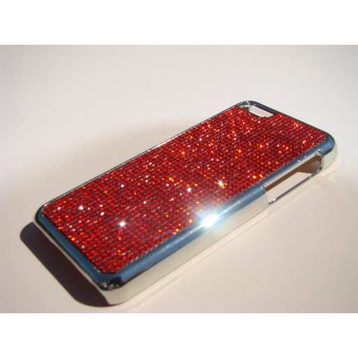 iPhone 5C Silver Chrome Case - Red Siam Crystals