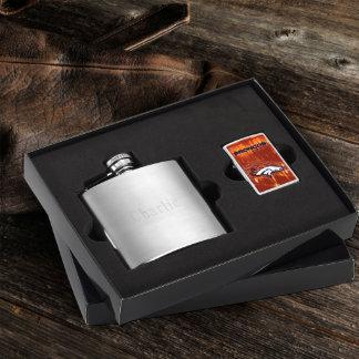 Brushed Flask & Denver Broncos NFL Zippo Lighter