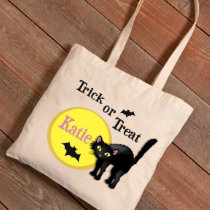 Trick or Treat Black Cat Halloween Canvas Tote Bag
