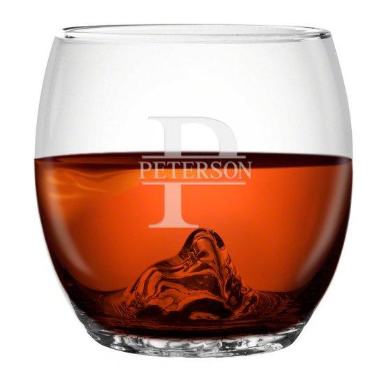 Engraved Oakmont Monogram Ice Ball Whiskey Glass