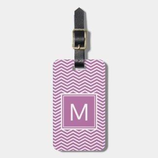 Modern Bodacious Purple Chevrons With Monogram Luggage Tag