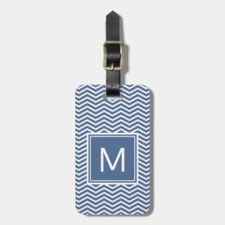 Modern Riverside Blue Chevrons and Monogram Luggage Tag