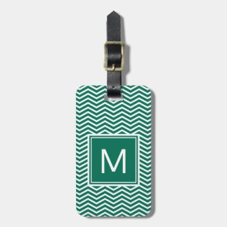 Modern Lush Green Chevrons With Monogram Luggage Tag
