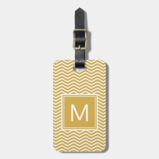 Modern Spicy Mustard Yellow Chevrons and Monogram Luggage Tag