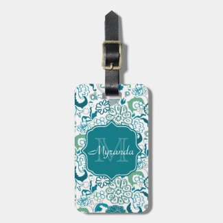 Stylish Teal Floral Pattern With Monogram and Name Bag Tag