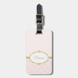 Elegant Pink Damask Vintage Gold Frame and Name Luggage Tag