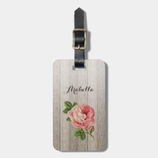 Rustic Weathered Wood Vintage Pink Rose With Name Luggage Tag