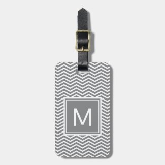 Modern Gray and White Chevrons With Monogram Luggage Tag