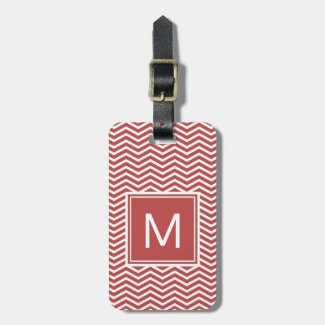 Modern Aurora Red Chevron Pattern With Monogram Bag Tag