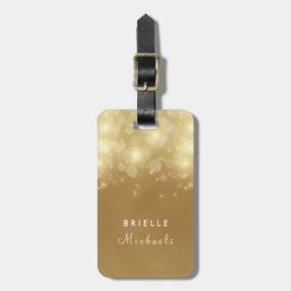 Luxury Gold Bokeh Glow Faux Glitz With Name Luggage Tag