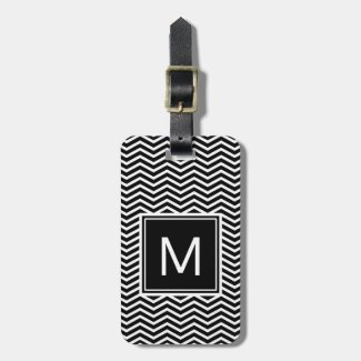 Modern Black and White Chevrons With Monogram Bag Tag