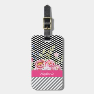 Chic Pink Floral Black and White Chevrons and Name Bag Tag