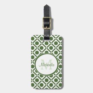 Modern Green and White Geometric Monogrammed Name Luggage Tag