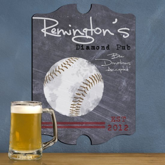 Personalized Man Cave Bar Signs - Baseball