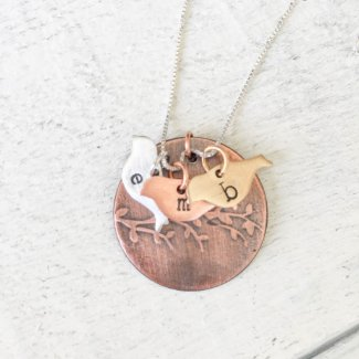 Silver, Copper, Brass Family Tree Necklace