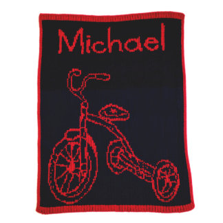 Personalized Navy & Red, Tricycle Blanket