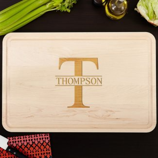 Grandiose Family Name Engraved Wood Cutting Board