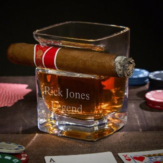 Unique Cigar Holder With Engraved Whiskey Glass