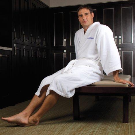 Men's White Kimono Embroidered Cotton Robe