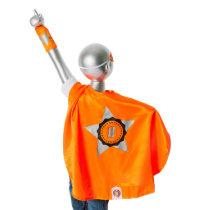 Youth Orange Superhero Costume with Black Star