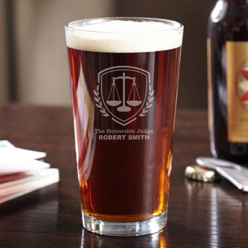 Sophisticated Scales of Justice Pint Glass