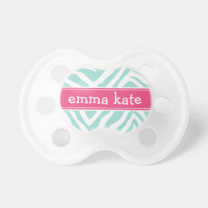 Mint and Hot Pink Zebra Stripes Monogram Pacifier
