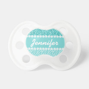 Girly, Teal Glitter, Zebra Stripes Personalized Pacifier