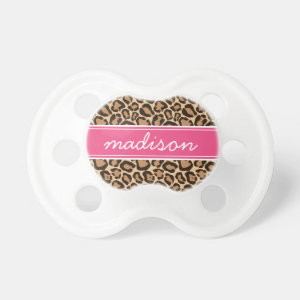 Pink and Leopard Print Custom Monogram Pacifier
