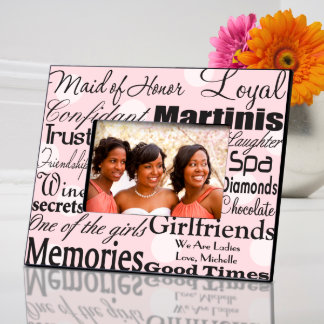 Pink Dots Personalized Maid of Honor Frame Picture Frame