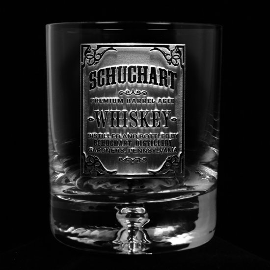 Whiskey Label Lead Free Engraved Bar Glass
