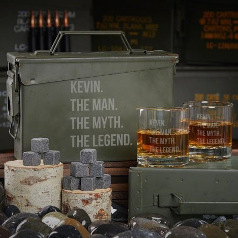 Man Myth Legend Ammo Can Set With Rocks Glasses