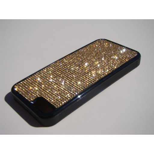 iPhone 5c Black Rubber Case - Gold Topaz Crystals