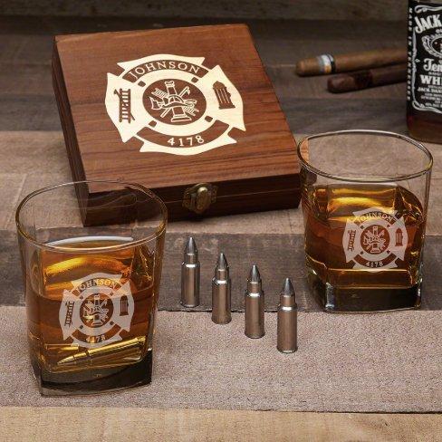 Firefighter Set w/ Bullet Stones & Whiskey Glasses