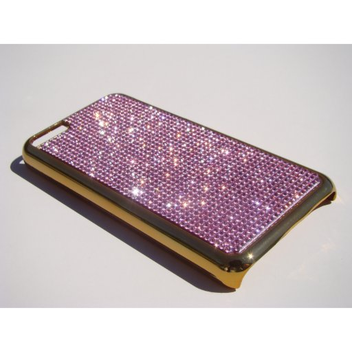 iPhone 5C Gold Chrome Case - Pink Crystals