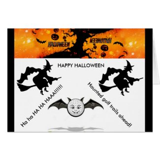Haunted golf trails Halloween card