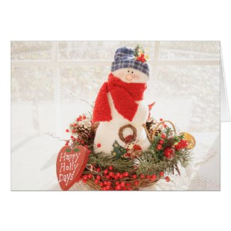 Happy Holly Days Snowman Christmas Card