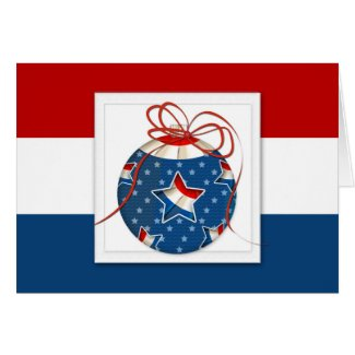 Patriotic Christmas Ornament with Flag in Star Card