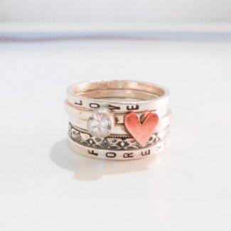 Rustic Love Custom Ring Set // Five Stacking Rings