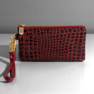 Classic Croc Red Leather Wristlet w/Red Strap