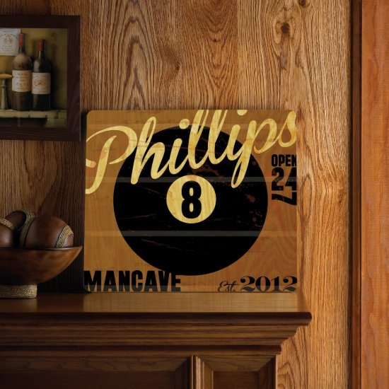 Personalized Wood Tavern & Bar Sign - 8 Ball